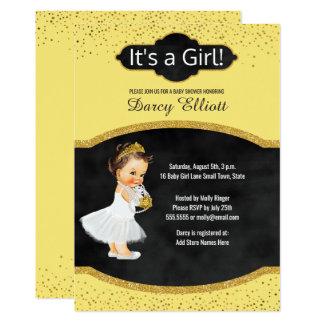 Der Prinzessin-Girl sonniger gelber Glitter 12,7 X 17,8 Cm Einladungskarte
