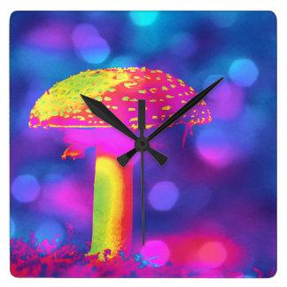 Der psychedelische Pilz Quadratische Wanduhr