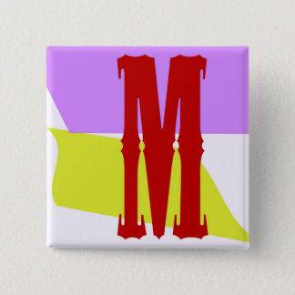 Der quadratische Knopf des Buchstabe-M Quadratischer Button 5,1 Cm