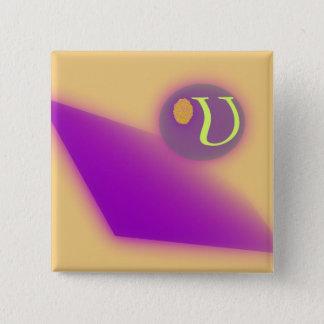 Der quadratische Knopf des Buchstabe-U Quadratischer Button 5,1 Cm