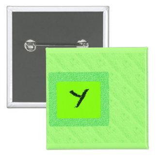Der quadratische Knopf des Buchstabe-Y Quadratischer Button 5,1 Cm