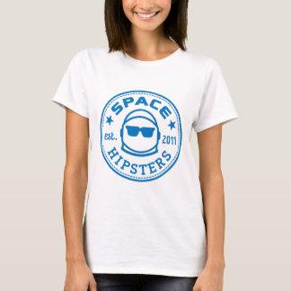 Der Raum-Hipster der Frauen hoben Logo-T-Stück auf T-Shirt
