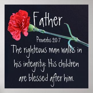 Der rechtschaffene Mannbibel-Vers für den Vatertag Poster