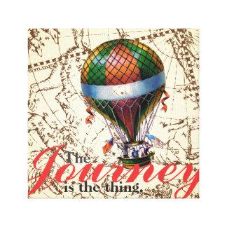 Der Reise-Heißluft-Ballon-Tierkreis-Hintergrund Gespannte Galerie Drucke