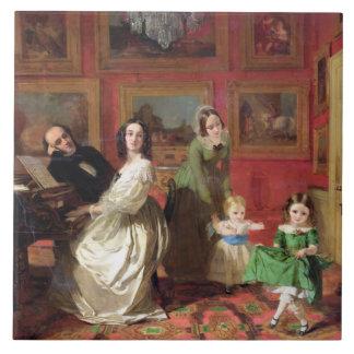 Der Rev. und die Frau Palmer-Lovell mit ihrer Keramikfliese