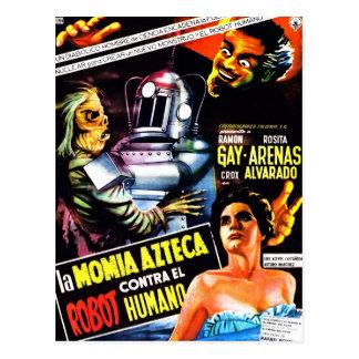 """""""Der Roboter gegen. Die aztekische Mama-"""" Postkarte"""