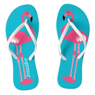 Der rosa personalisierte Flamingo drehen Reinfälle Badesandalen