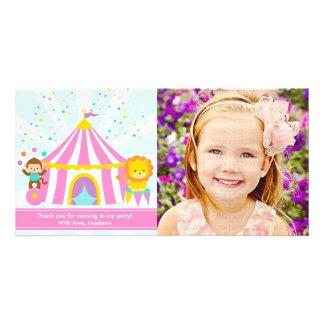 Der rosa personalisierte Zirkus-Karneval danken Bild Karte