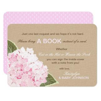 Der rosa rustikale Hydrangea las eine Buch-Karte Karte