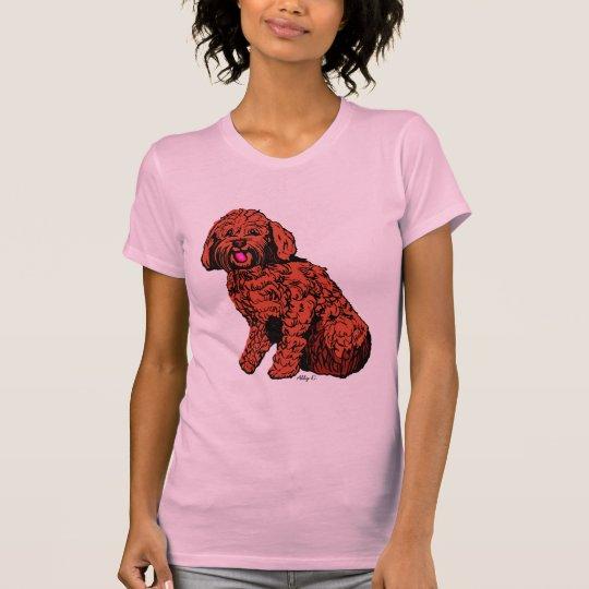 Der rosa T - Shirt rotbrauner Labradoodle Frauen