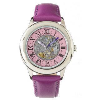 Der rostfreie Stahl-lila lederner Bügel-Uhr des Armbanduhr