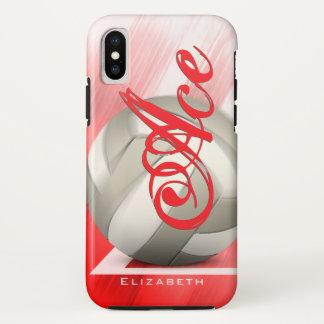 Der rote begrifflichVolleyball der weißen Frauen iPhone X Hülle