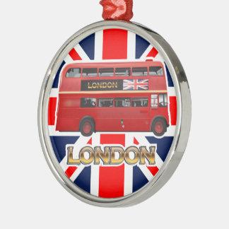 Der rote London-Doppeldecker-Bus Silbernes Ornament