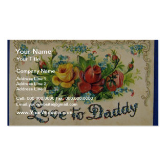 Der rote Vatertag, prägeartige, geteilte hintere Visitenkartenvorlage