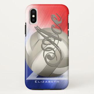 der rote Volleyball der weißen und blauen iPhone X Hülle