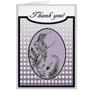 Der Rubin-Throated lila Kolibri danken Ihnen Grußkarte