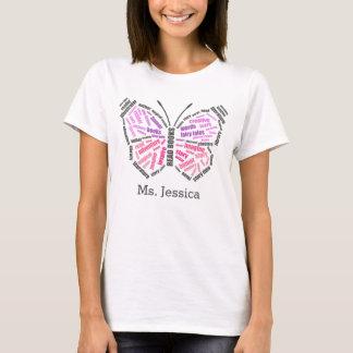 Der Schmetterlings-Wort-Kunst des Lehrers T-Shirt