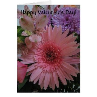 Der schöne rosa und lila Tag Blumenvalentines Grußkarte