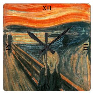 Der Schrei durch Edvard Munch Quadratische Wanduhr