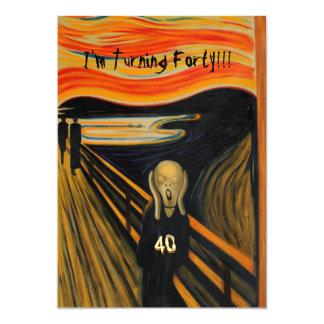 Der Schrei - lustiger 40. Geburtstag 12,7 X 17,8 Cm Einladungskarte