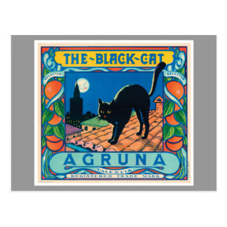 Der schwarze Katzen-Vintage orange Aufkleber Postkarte