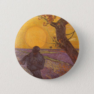 Der Sower durch Vincent van Gogh, Vintage feine Runder Button 5,7 Cm