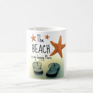 Der Strand ist mein glücklicher Platz umdrehen Kaffeetasse