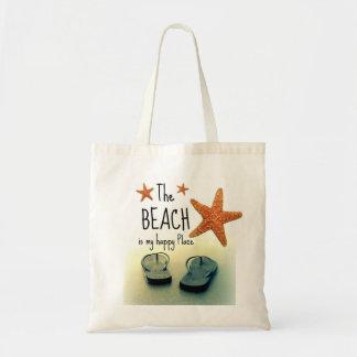 Der Strand ist mein glücklicher Platz umdrehen Tragetasche