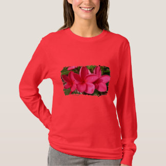 Der T - Shirt der Damen - rosa Plumerias