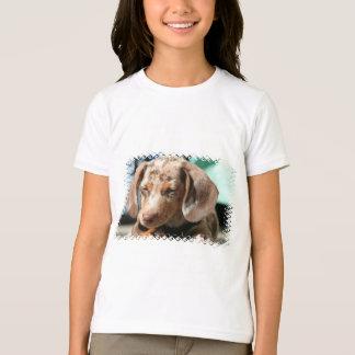 Der T - Shirt des Daschund Hundemädchens