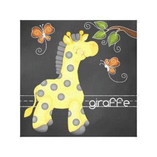 Der Tafel-Dschungel: Giraffen-Leinwand-Druck Leinwanddruck