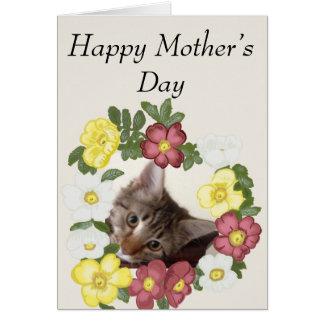 Der Tag der Kätzchen-und Blumen-Girlanden-Mutter Karte