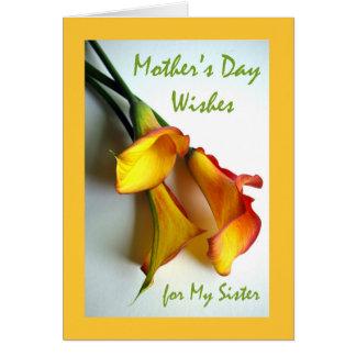 Der Tag der Mutter für Schwester, Calla-Lilien Grußkarte