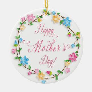 Der Tag der Mutter - hübscher FrühlingblumenWreath Keramik Ornament