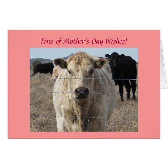 Der Tag der Mutter - niedliche weiße Kuh - Ranch Karte