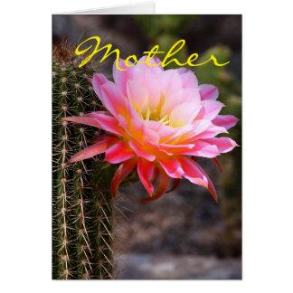 Der Tag und der rosa Kaktus der Mutter Grußkarte