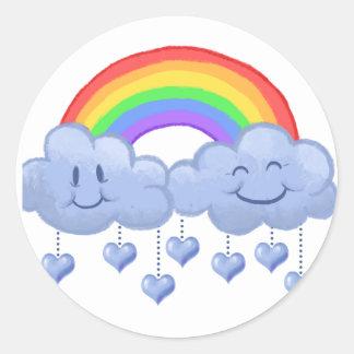 Der Tag Wolken-Liebe Valentines Runder Aufkleber