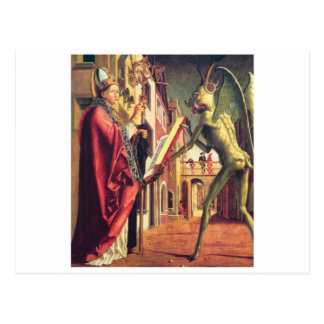 Der Teufel bietet das Buch von Lastern Heiligem an Postkarte