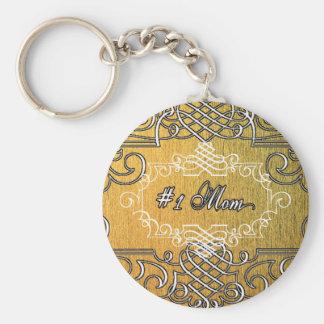 der Typografie-Mutter der Mammas #1 der goldene Standard Runder Schlüsselanhänger