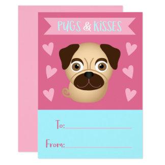 Der Valentine des Mops-und Kuss-Kindes Karte