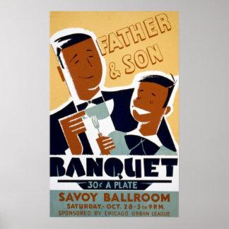 Der Vatertag Afroamerikaner-u. Sohn-Bankett Poster