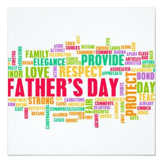 Der Vatertag als spezieller Tag mit Wörtern Quadratische 13,3 Cm Einladungskarte