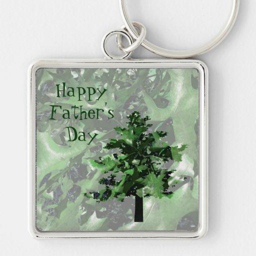 Der Vatertag: Grüne Baum-Silhouette Schlüsselanhänger