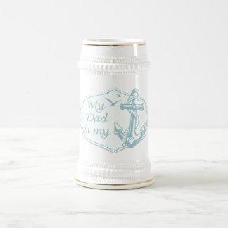 """Der Vatertag - """"mein Vati ist mein Anker"""" auf Weiß Bierglas"""
