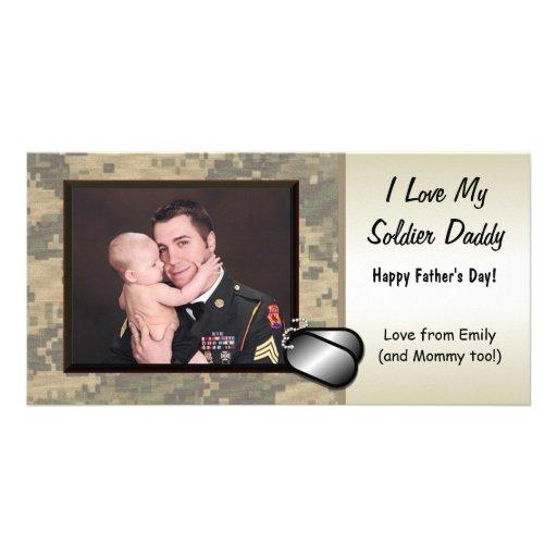 Der Vatertag Soldat-- kundengerecht Photo Grußkarte