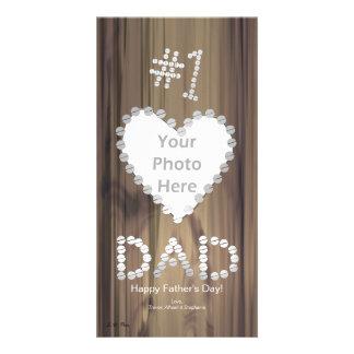 Der Vatertag - Vati der Nr.-eine auf Holz Individuelle Foto Karten
