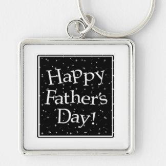 der Vatertag, Vati, Vater, Papa Silberfarbener Quadratischer Schlüsselanhänger
