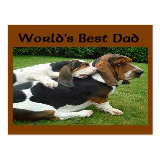 Der Vatertags-Basset-der Welt der beste Vati Postkarten
