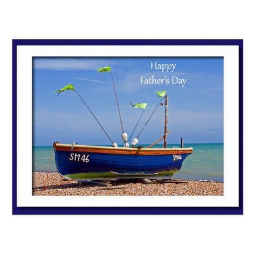 Der Vatertags-Blau-Boot Postkarte