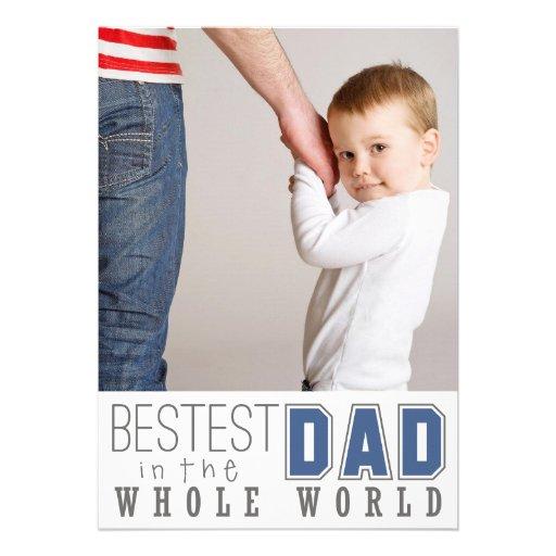Der Vatertags-flache Foto-Karte/Blau Bestest Vati- Personalisierte Einladungen